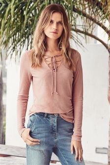 Lace-Up Rib Top