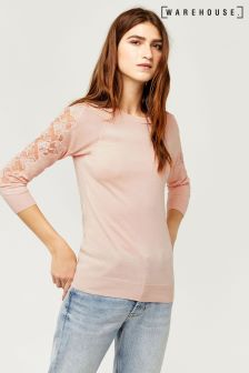 Warehouse Pale Pink Marl Lace Insert Jumper