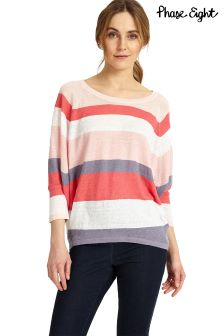 Phase Eight Pink Giorgia Stripe Linen Knit