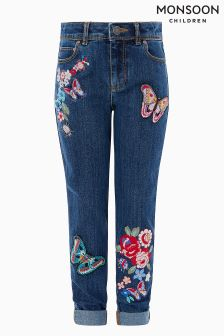 Monsoon Blue Iris Butterfly Jean