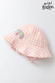 Boden Pink Gingham Pretty Woven Hat