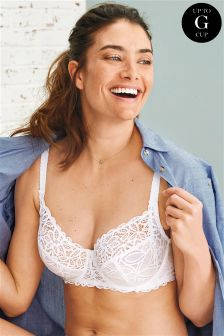 DD+ Lizzie Cotton Look Lace Non Padded Wired Balcony Bra