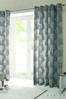 Fusion Woodland Trees Eyelet Curtains
