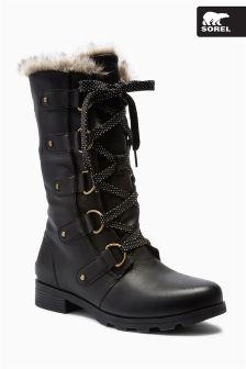 Sorel Black Leather Emilie Lace-Up Long Boot