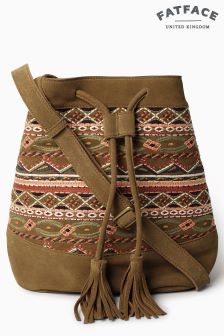 FatFace Tan Embroidered Bucket Bag