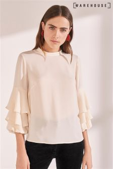 Warehouse Cream Tiered Cuff Top