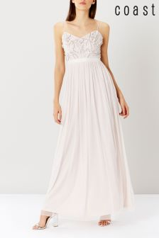 Coast Blush Pip Sequin Strappy Prom Dress