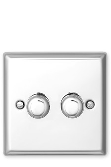 Chrome Double Rotary Dimmer Switch