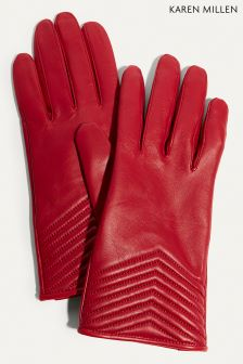 Karen Millen Red Chevron Quilted Gloves