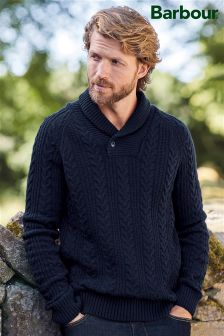 Barbour® Navy Braemar Shawl Neck Jumper
