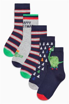 Snappy Christmas Socks Five Pack (Younger Boys)