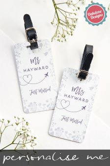 Personalised Aluminium Floral Wedding Luggage Tag By Oakdene