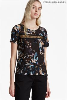 French Connection Black Multi Dream Floral Lace Top