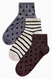 Sparkle Spot/Stripe Ankle Socks Three Pack