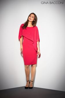 Gina Bacconi Red Gabriella Beaded Cape Dress
