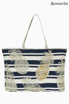 Accessorize Blue Pineapple Stripe Beach Tote Bag