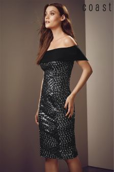 Coast Black Serena Sequin Bardot Dress