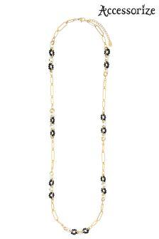Accessorize Black Monochrome Links Rope Necklace