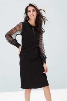 Mesh Sleeve Dress