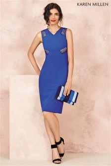 Karen Millen Blue Geometric Lace Dress