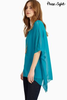 Phase Eight Turquoise Maggie Asymmetric Blouse