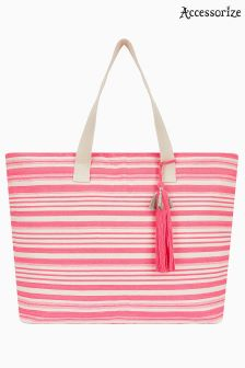 Accessorize Pink Sadie Stripe Beach Tote Bag