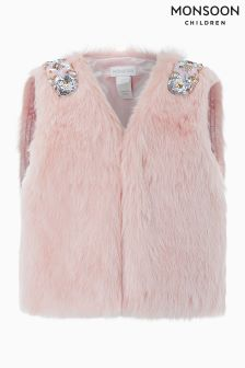 Monsoon Pale Pink Fur Gilet