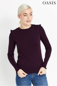 Oasis Malbec Frill Shoulder Cuff Top