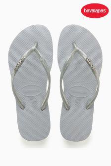 Havaianas® Slim Logo Metallic Silver Flip Flop