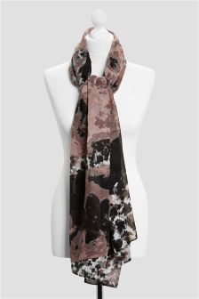 Floral And Check Print Scarf