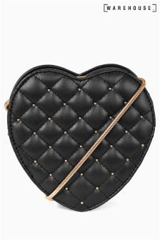 Warehouse Black Quilted Mini Heart Bag