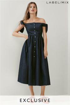 Mix/Isa Arfen Button Front Off Shoulder Dress