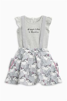 Unicorn Skirt/Braces T-Shirt Set (3mths-6yrs)