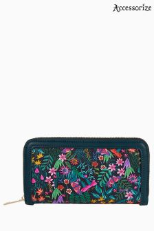 Accessorize Green Jungle Paradise Large Zip Around Wallet