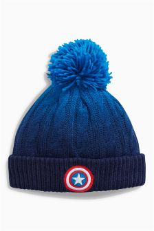 Captain America Pom Beanie (Older Boys)