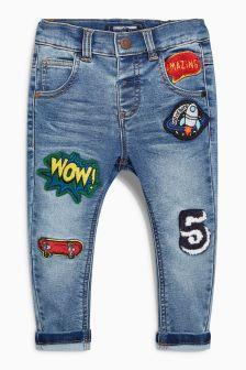 Badged Jersey Denim Jeans (3mths-6yrs)