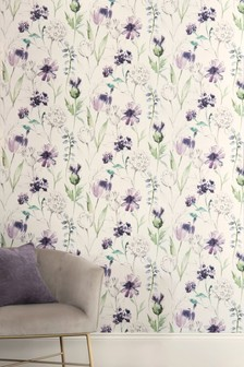 Paste The Wall Watercolour Floral Wallpaper