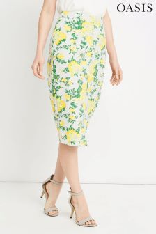 Oasis Multi Ivory Blossom Pencil Skirt