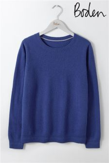 Boden Greek Blue Cashmere Crew Neck Jumper