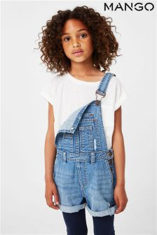 Mango Kids Girls Blue Denim Dungaree
