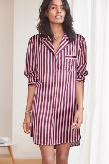 Stripe Button Through Nightshirt