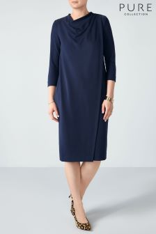 Pure Collection Blue Heavy Jersey Wrap Front Dress