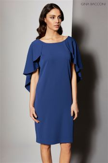 Gina Bacconi Navy Moss Crepe Dress With Cape Detail