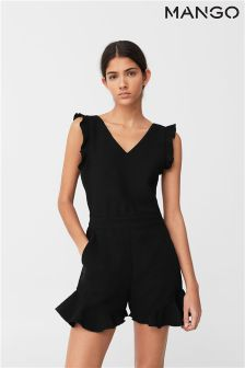 Mango Black Ruffle Playsuit