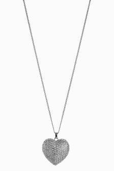 Long Sparkle Heart Pendant Necklace