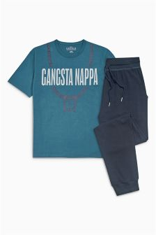 Gangsta Nappa Jersey Cuffed Pyjamas Set