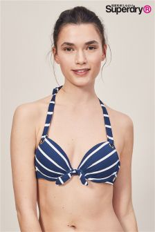 Superdry Navy Stripe Picot Textured Bikini Top