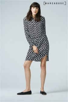 Warehouse Black Chevron Print Shirt Dress
