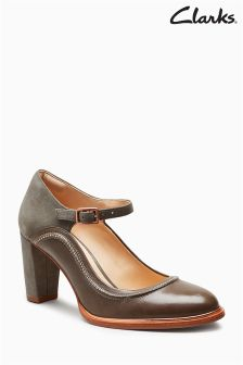 Clarks Grey Ellis Mae Stitch Mary Jane Shoe