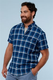 Short Sleeve Linen Blend Check Shirt